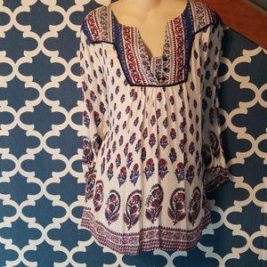 Womens boutique 1x plus paisley bobo tunic shirt